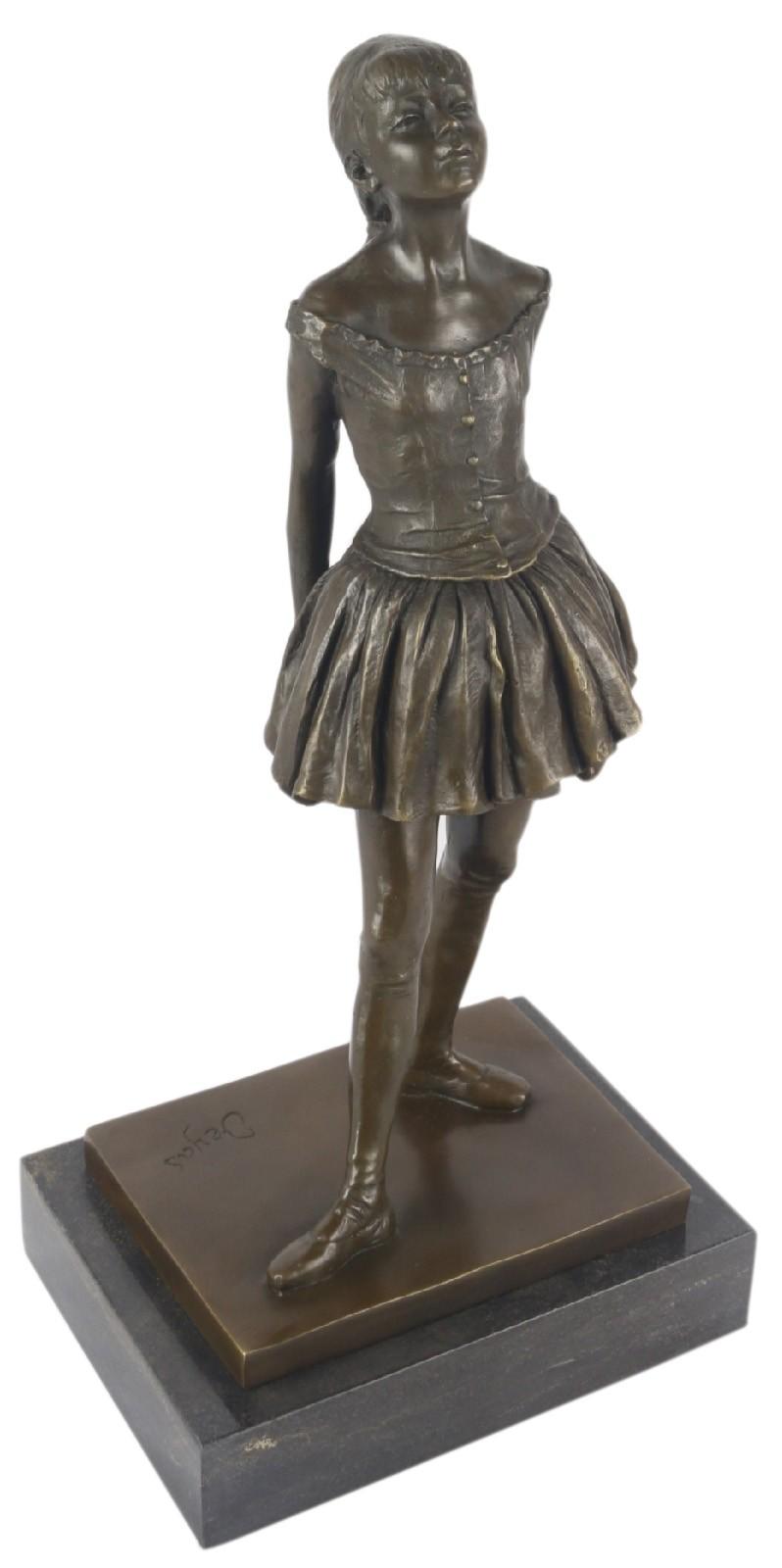 Bronze Ballerina Stretching On Marble Base 38cm