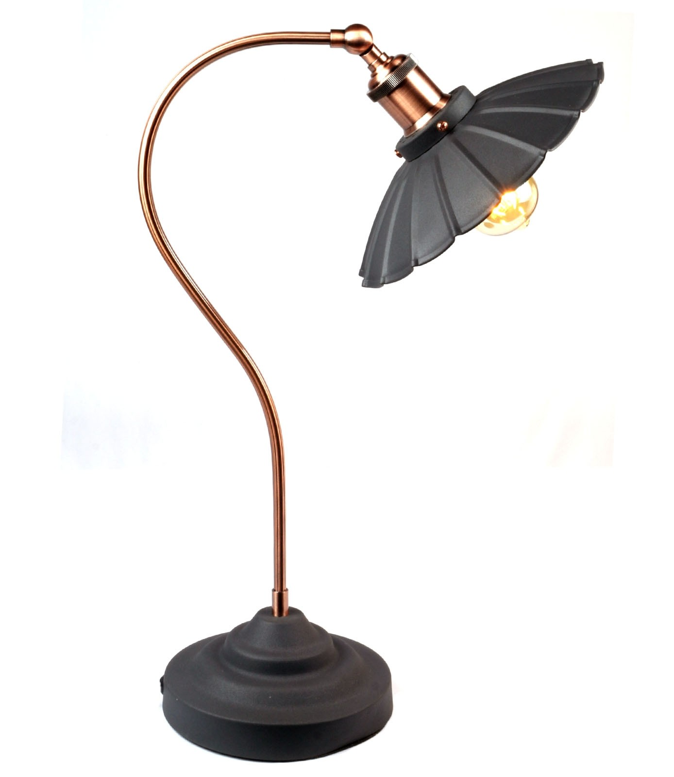 Daisy Lamp Matt Black - Copper Plated Arm (Bulbs not included)