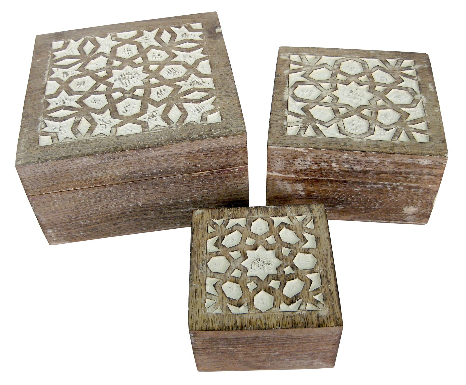 Mango Wood Set Of 3 Square Boxes - Burnt White Finish