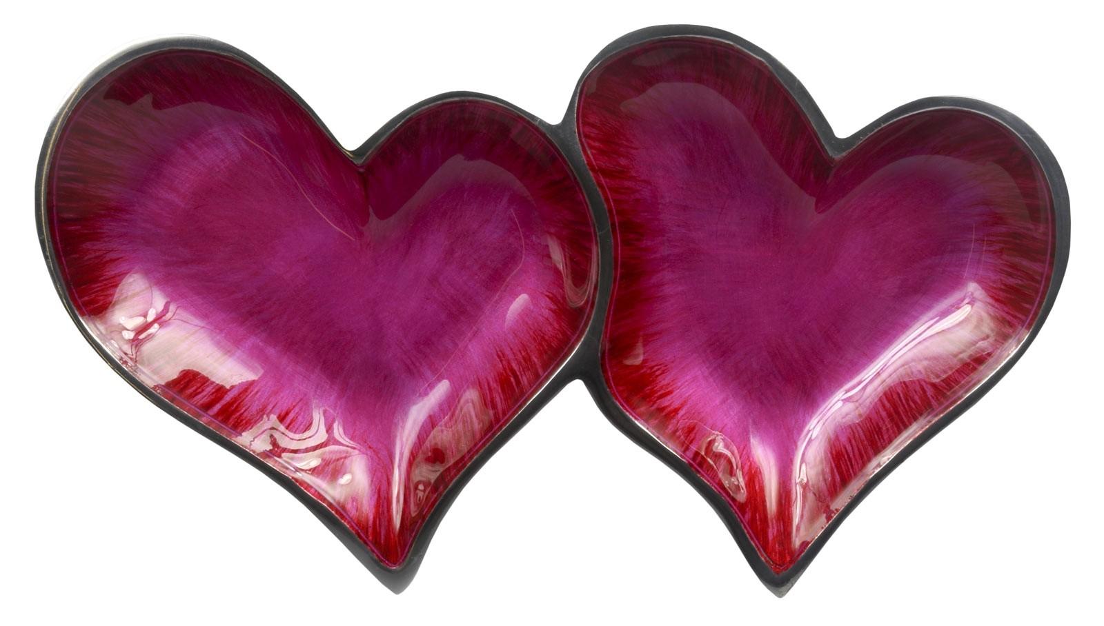 Aluminium Double Pink Hearts Dish