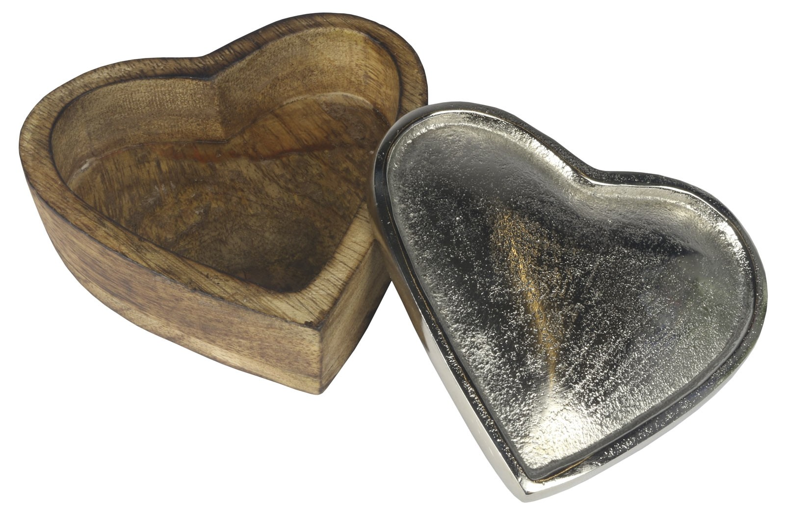 Wooden Heart Box with Nickel Top