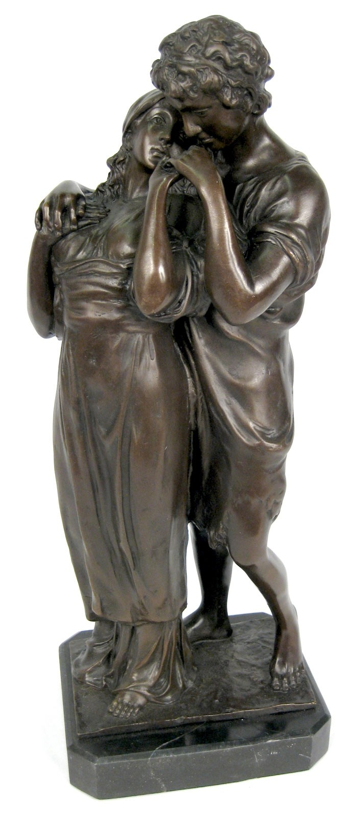 Couple Bronze Sculpture On Marble Base