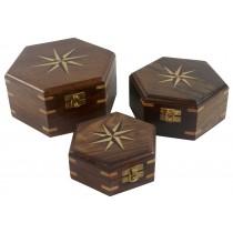 Wooden Set Of 3 Star Design Hexagonal Boxes