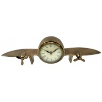 Aeroplane Design Table Clock Antique Brass Finish