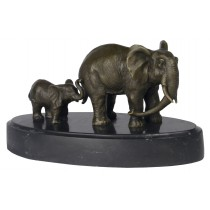 Elephant with Baby Bronze Sculpture On Marble Base