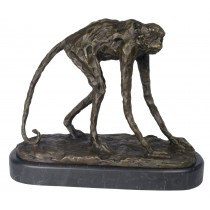 Monkey Bronze Sculpture On Marble Base