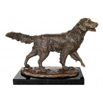 Dog Retriever Bronze Sculpture On Marble Base