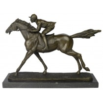 Jockey Bronze Sculpture On Marble Base