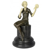 Lady with Mirror Sculpture On Marble Base