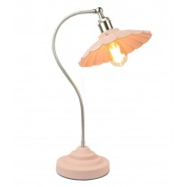 Daisy Lamp Textured Pink Shade/Base - Satin Chrome Arm (Bulbs Not Included)