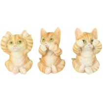Set Of 3 Cats - Hear Speak, & See No Evil - 9.cm