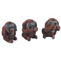 Set Of 3 No Evil Orangutans - Hear, See And Speak No Evil