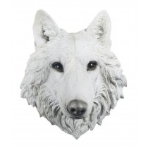 White Wolf Head Wall Hanging - 34.5cm