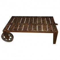 Acacia Wheel Design Coffee Table