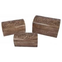 Mango Wood Leaf Design Set Of 3 Domed Boxes