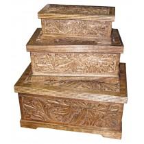 Mango Wood Leaf Design Set Of 3 Boxes