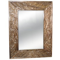 Mango Wood Leaf Design Carved Mirror