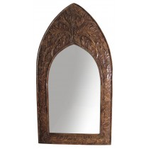 Mango Wood Gothic Mirror Leaf Design - Large