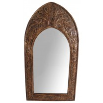 Mango Wood Gothic Mirror Leaf Design - Small