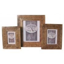 Mango Wood Celtic Design Set/3 Photograph Frames
