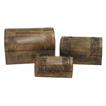 Mango Wood Celtic Design Set Of 3 Boxes