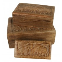 Mango Wood Elephant Design Boxes (Set of 3) 25cm