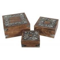 Mango Wood / Metal Flower Design Set of 3 Boxes