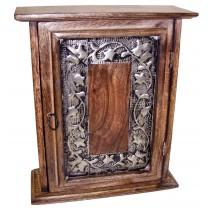 Mango Wood / Metal Flower Design Key Box