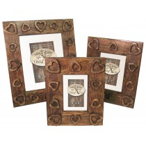 Set/3 Heart Design Photo Frames Mango Wood