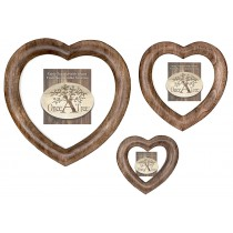 Mango Wood Set/3 Free Standing or Hanging Heart Photo Frame