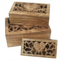 Mango Wood Set/3 Oblong Boxes Heart Carvings Design
