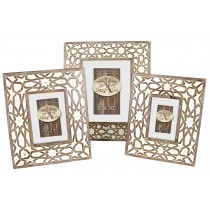 Mango Wood Set Of 3 Photo Frames - Burnt White Finish
