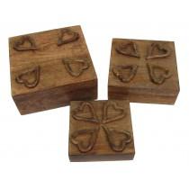 Mango Wood Set Of 3 Heart Boxes