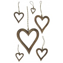 Mango Wood Set Of 6 Hanging Hearts