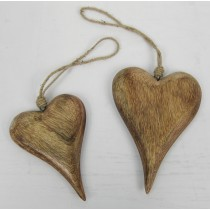 Mango Wood Set Of 2 Hanging Hearts