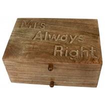 Mango Wood Mrs Always Right Vanity Box