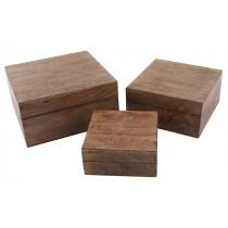 Mango Wood Set Of 3 Square Boxes 20cm