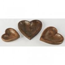 Set of 3 Mango Wood Heart Shaped Trays