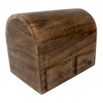 Mango Wood Plain Dome Top Box with 2 Drawers
