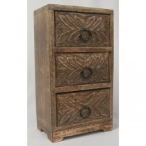Mango Wood 3 Drawer Leaf Chest 28cm