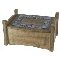 Mango Wood Metal Overlay Jewel Box