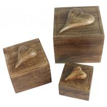 Mango Wood Set Of 3 Square Heart Boxes