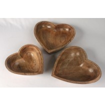 Mango Wood Set of 3 Heart Bowls