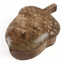 Mango Wood Acorn Box 18cm