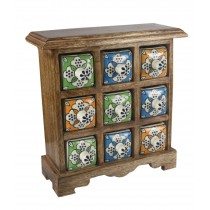 Mango Wood Ceramic 9 Drawer Almirah