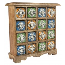 Mango Wood Ceramic 16 Drawer Almirah
