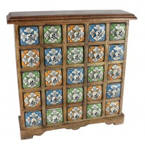 Mango Wood Ceramic 25 Drawer Almirah