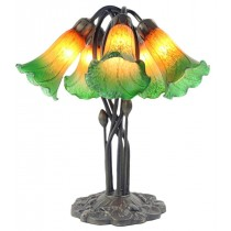 5 Shade Lily Lamp Amber/Green - 43cm