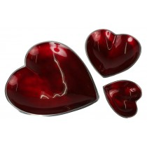 Aluminium Set of 3 Heart Dishes
