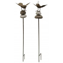 Rust Finish Set Of 6 Bird Stakes With Stones (2 Designs)